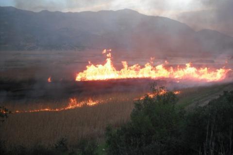 Όταν η λίμνη Στυμφαλίας καίγεται!